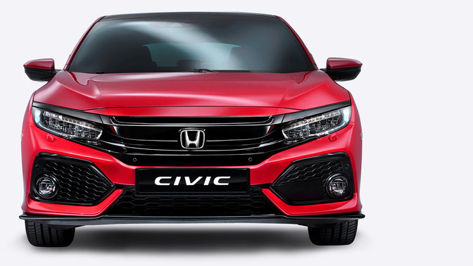 Vooraanzicht Honda Civic.