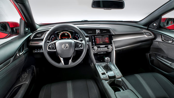 View of driver on dashboard Honda Civic.