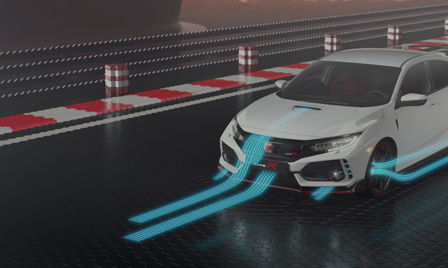 Video die de aerodynamica en de power van de Honda Civic Type R demonstreert