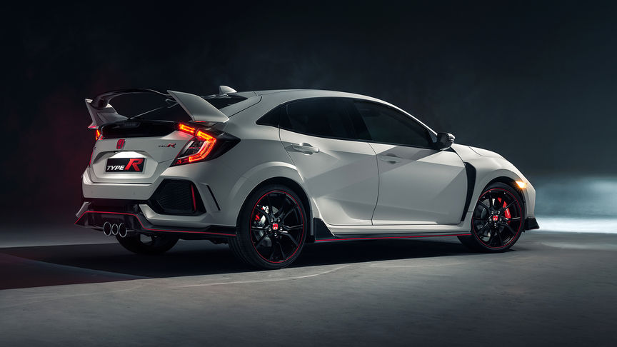 Zijaanzicht Honda Civic Type R.