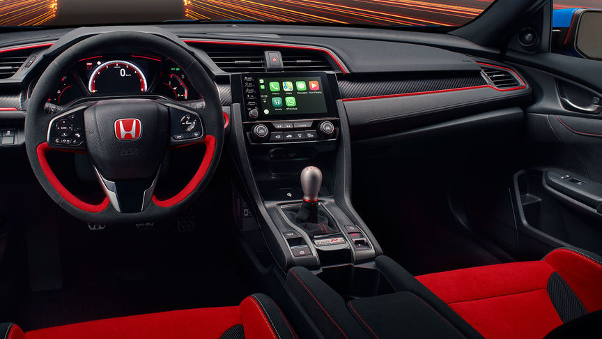 Close-up van het interieur van de Honda Civic Type R GT