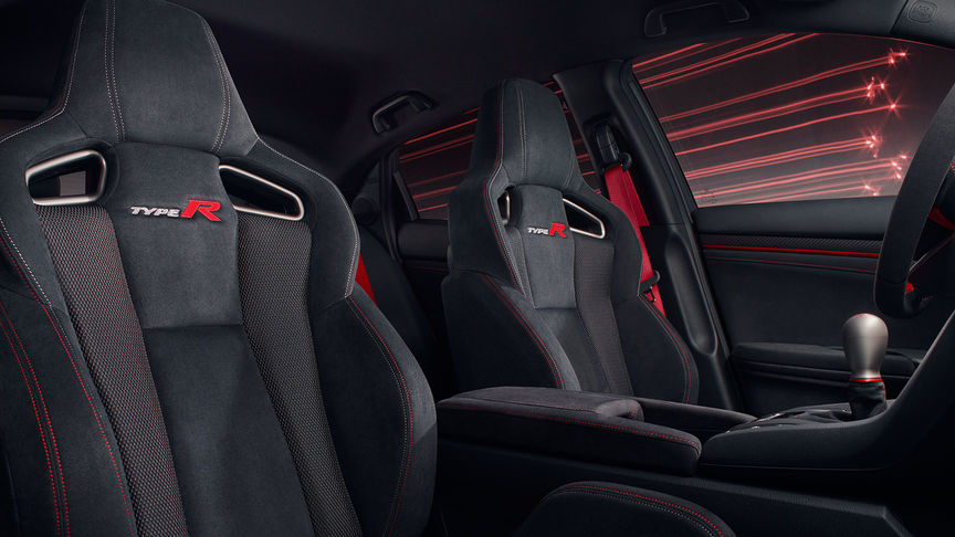Close-up van de stoelen van de Honda Civic Type R Sport Line