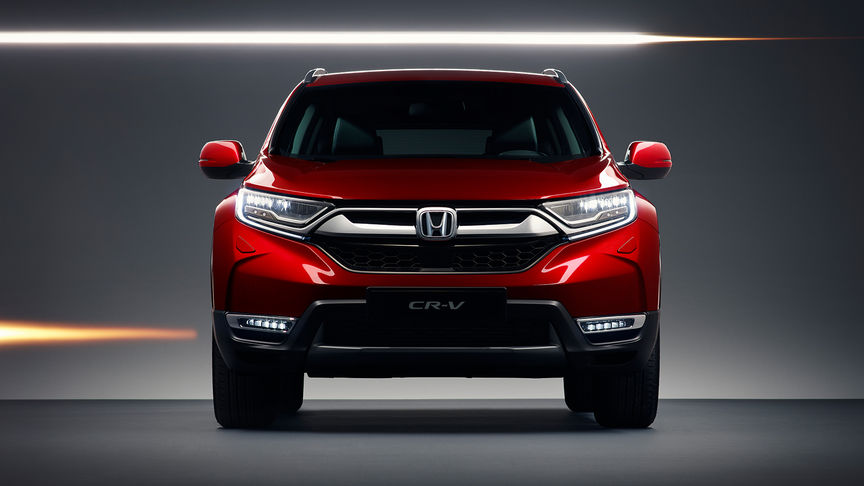 Vooraanzicht van de Honda CR-V om de kenmerken aan de buitenkant te tonen.