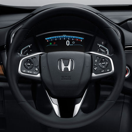 Close-up multifunctional steering wheel Honda CR-V.