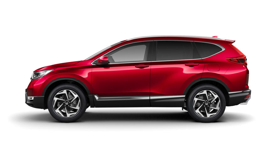 Zijaanzicht Honda CR-V in Premium Crystal Red Metallic.