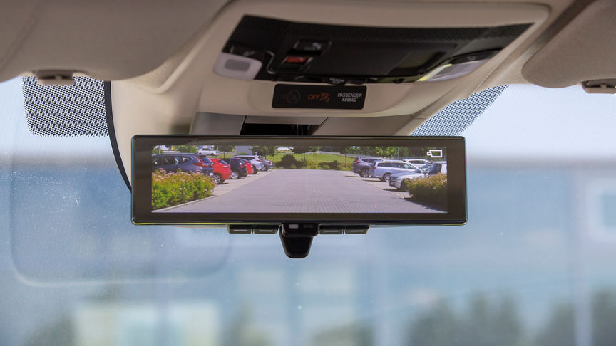 Close up of Honda e Rear-view Camera Mirror System.