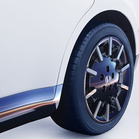 Close-up of Honda e-wheel.