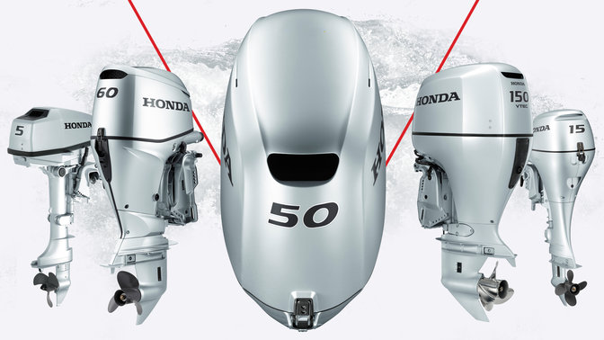 Range of Honda marine engines with illustration.