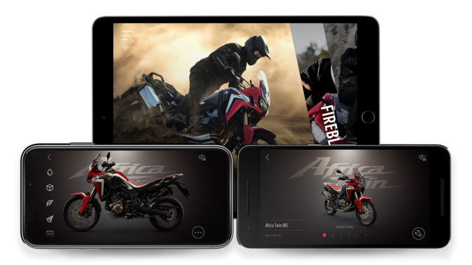 3x screenshots van Africa Twin App.