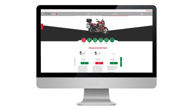 Screenschot van Africa Twin-configurator.