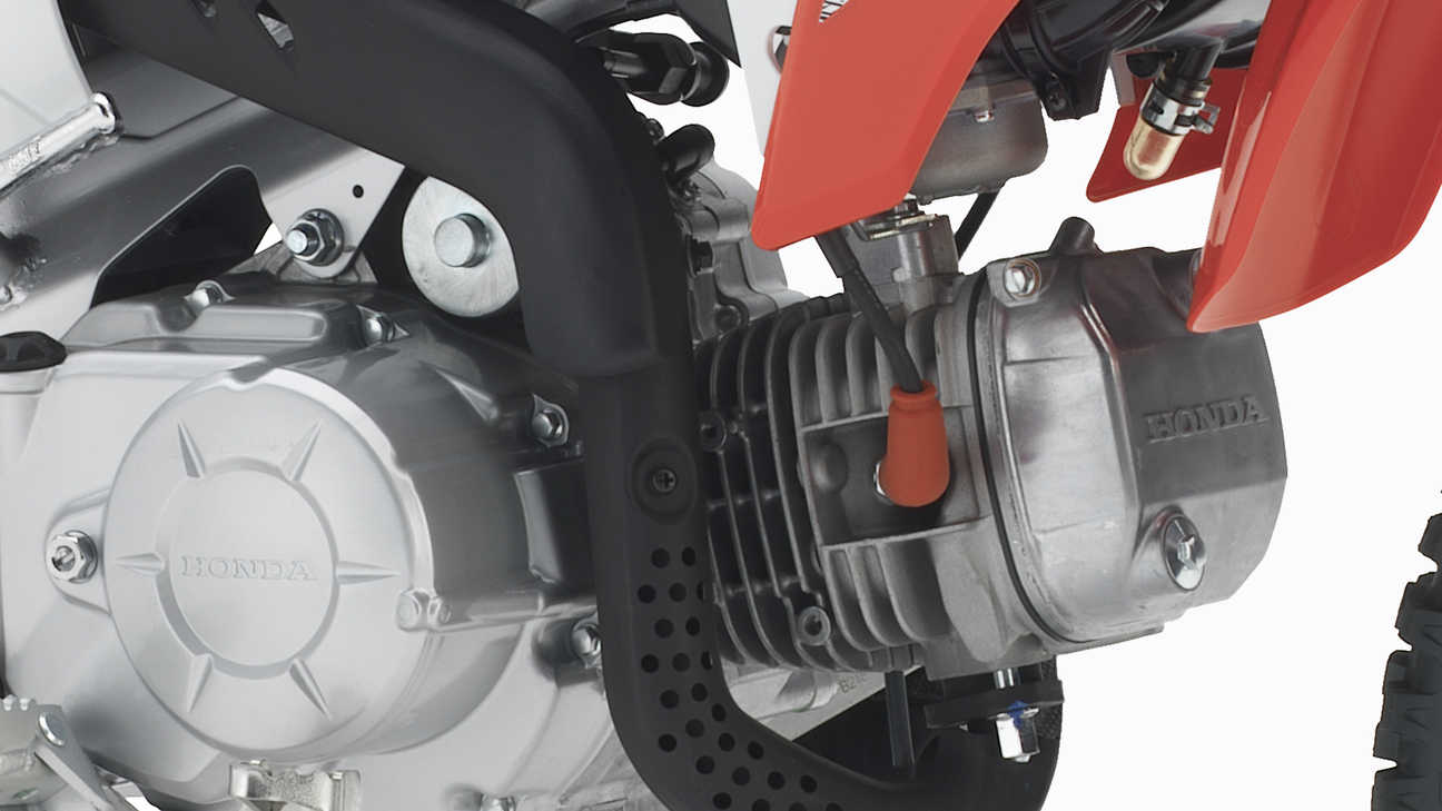 Close-up van CRF110F-motor.