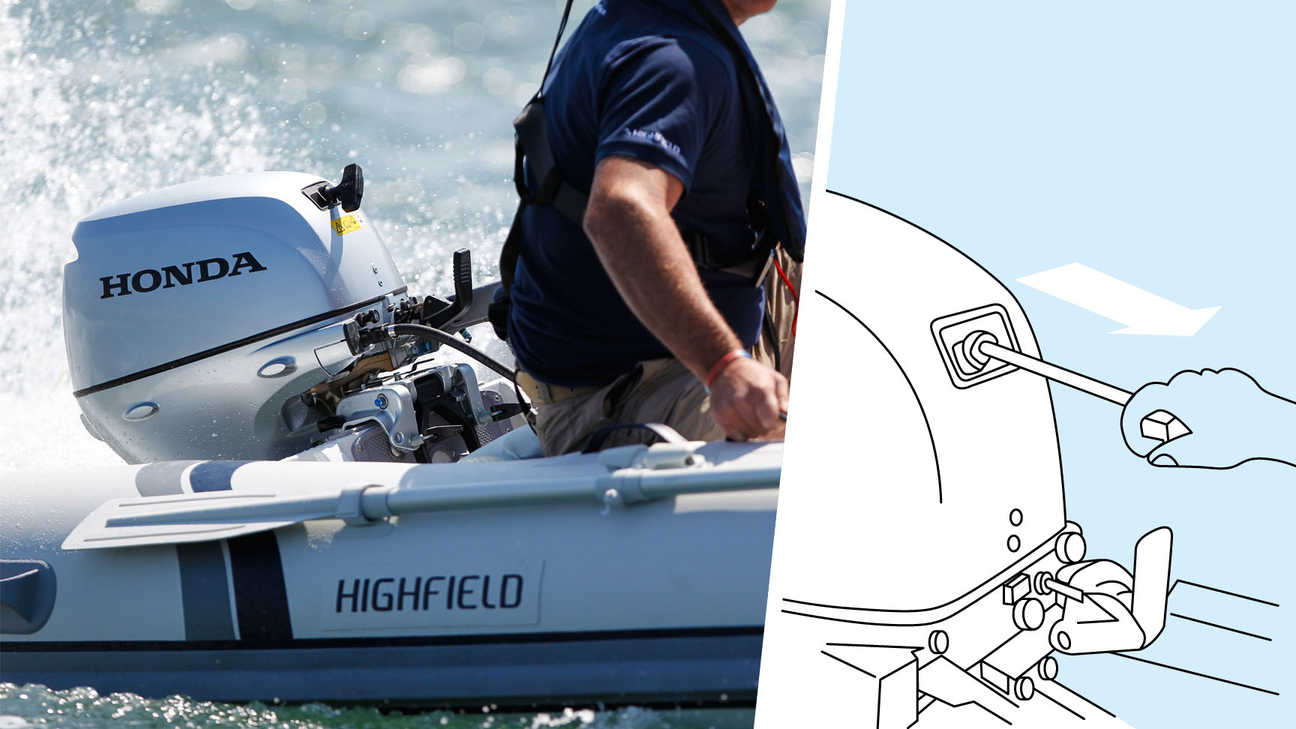 Left: Boat with BF10 engine, being used by model, coastal location. Right: Illustration of decompression system.